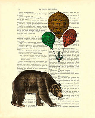 Brown Bear Digital Art - Brown Bear With Balloons by Madame Memento