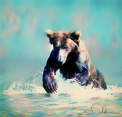 Digital Art - Brown Bear In The Water by Gloria Anderson