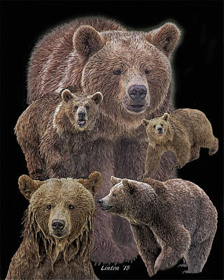 Digital Art - Brown Bears 8 by Larry Linton
