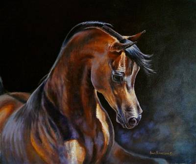 Wall Art - Painting - Brown Beauty - Arabian Stallion by Anna Franceova