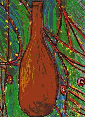 Oil Pastel Drawing - Brown Bottle by Sarah Loft