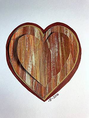 Brindle Mixed Media - Brown Brindle Heartgarden by Barbara Bellissimo