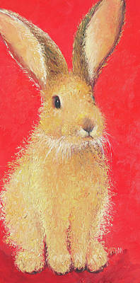 Easter Bunny Painting - Brown Bunny - Scarlet by Jan Matson
