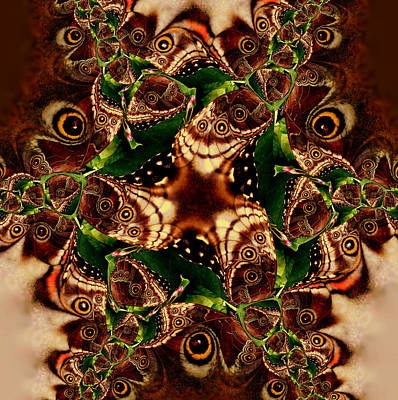 Brown Butterfly Collage Art Print