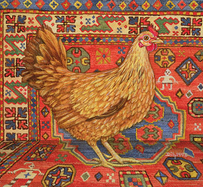 Persian Carpet Painting - Brown Carpet Chicken by Ditz