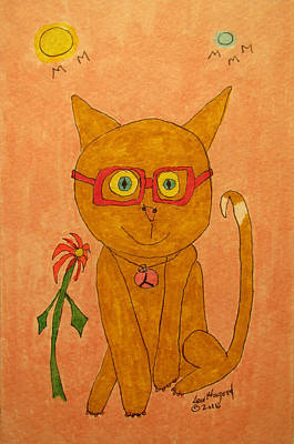 Painting - Brown Cat With Glasses by Lew Hagood