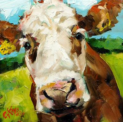 Cow Face Painting - Brown Cow by Claire Kayser