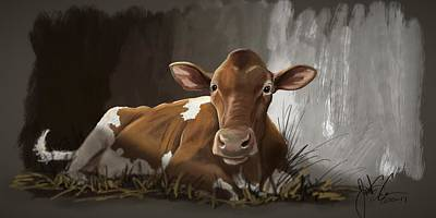 Digital Art - Brown Cow by Jonathan Carr