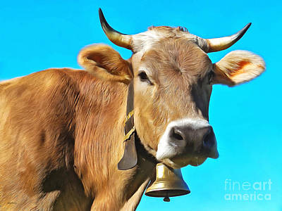 Photograph - Brown Cow With Cowbell Portrait Pop Art Painterly 20170920 by Wingsdomain Art and Photography