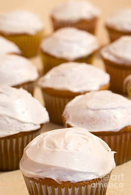 Brown Cupcakes With White Frosting Art Print by Paul Velgos