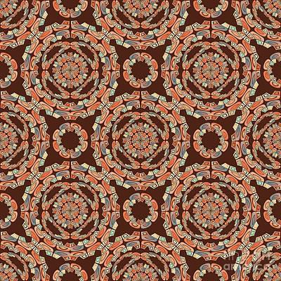 Algorithmic Digital Art - Brown Decorative Pattern by Gaspar Avila