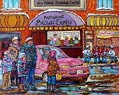 Street Hockey Painting - Brown Derby Van Horne Shopping Centre Canadian Hockey Art Painting Montreal 375 Carole Spandau       by Carole Spandau