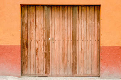 Photograph - Brown Door, Orange Wall by Rob Huntley