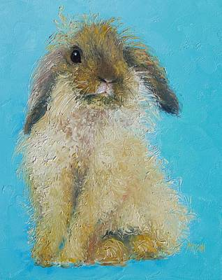 Brown Easter Bunny Print by Jan Matson
