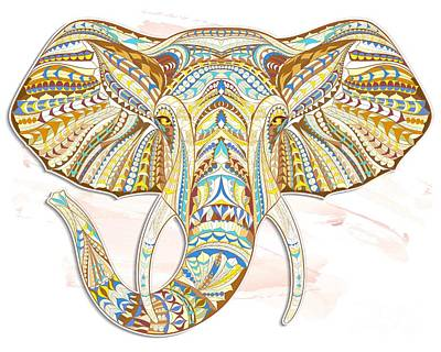 Painting - Brown Ethnic Elephant by Aloke Creative Store