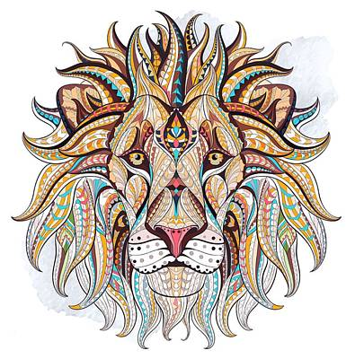 Painting - Brown Ethnic Lion by Aloke Creative Store
