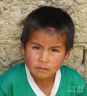 Photograph - Brown Eyed Bolivian Boy by Lew Davis
