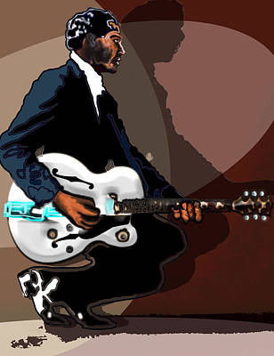 Gretsch Painting - Brown Eyed Handsome Man-chuck Berry by David Fossaceca