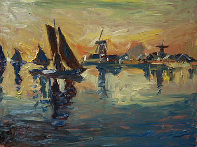 Painting - Brown Fleet On The Zaan by Nop Briex