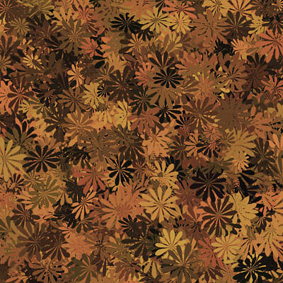 Digital Art - Brown Floral Pattern by Aimee L Maher Photography and Art Visit ALMGallerydotcom