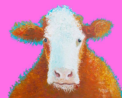 Kids Room Decor Painting - Brown Hereford On Pink by Jan Matson