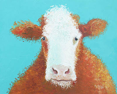 Painting - Brown Hereford On Turquoise by Jan Matson