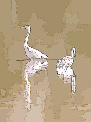 Photograph - Abstract Herons Brown by Keith Boone
