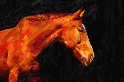 Run Painting - Brown Horse by Celestial Images