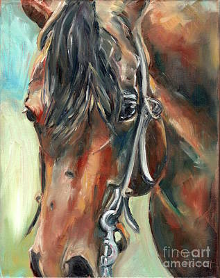 Pleasure Horse Painting - Brown Horse Head by Maria's Watercolor