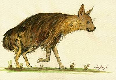 African Painting - Brown Hyena Animal Art by Juan  Bosco