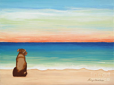 Painting - Brown Lab Dog On The Beach by Robyn Saunders