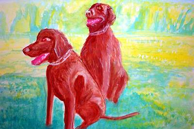 Labs Painting - Brown Labs by Stanley Morganstein