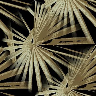 Digital Art - Brown On Black Tropical Vibes Beach Palmtree Vector by Tracey Harrington-Simpson