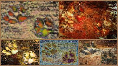 Digital Art - Brown Paw Print Collage by Dorothy Berry-Lound