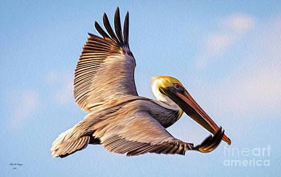 Digital Art - Brown Pelican In Flight - Two by Bill And Deb Hayes