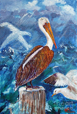 Painting - Brown Pelican With Gulls by Doris Blessington