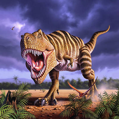 Extinct And Mythical Digital Art - Brown Rex by Jerry LoFaro