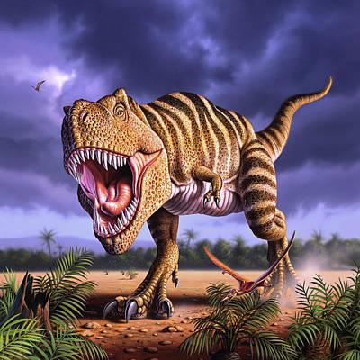 Dinosaur Wall Art - Digital Art - Brown Rex by Jerry LoFaro