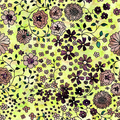 Painting - Brown Small Flowers by Aloke Creative Store