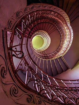 Photograph - Brown Spiral Art Deco Staircase by Jaroslaw Blaminsky