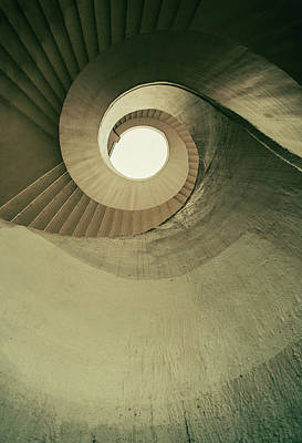 Art Print featuring the photograph Brown Spiral Stairs by Jaroslaw Blaminsky
