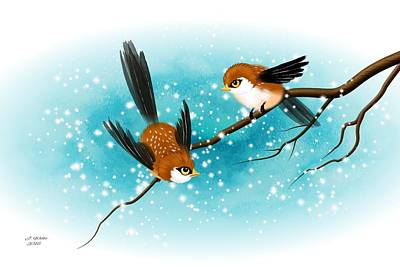 Digital Art - Brown Swallows In Winter by John Wills