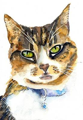 Watercolor Pet Portraits Wall Art - Painting - Brown Tabby Cat Watercolor by Carlin Blahnik CarlinArtWatercolor