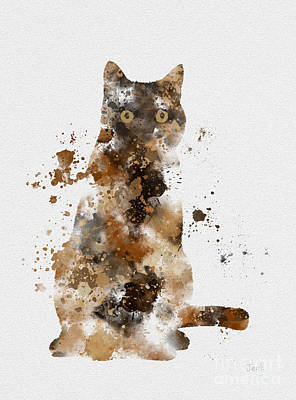 Kittens Mixed Media - Brown Tabby by Rebecca Jenkins