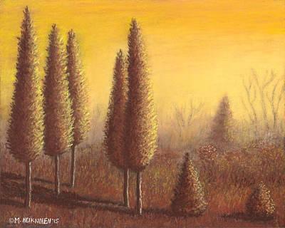Pastel - Brown Trees 01 by Michael Heikkinen