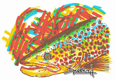 Swordfish Drawing - Brown Trout by David Danforth
