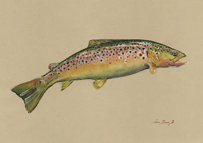 Flies Painting - Brown Trout Jumping by Juan Bosco