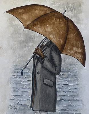 Painting - Brown Umbrella And Gloves by Kelly Mills