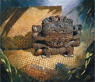 Treasure Box Painting - brown Wakahuia by Peter Jean Caley