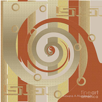 Digital Art - Brown Yin Yang by Rizwana Mundewadi